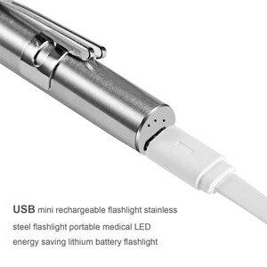 Stylo médical pratique lumière USB Rechargeable Mini lampe torche à LED de soins infirmiers + pince en acier inoxydable qualité et professionnel