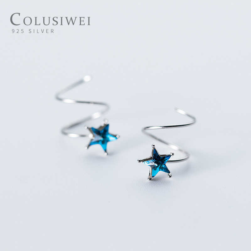 Colusiwei Blue Crystal Clips Earrings for Women Genuine 925 Sterling Silver Fashion Pentagram Ear Cuff Jewelry Femme Accessories