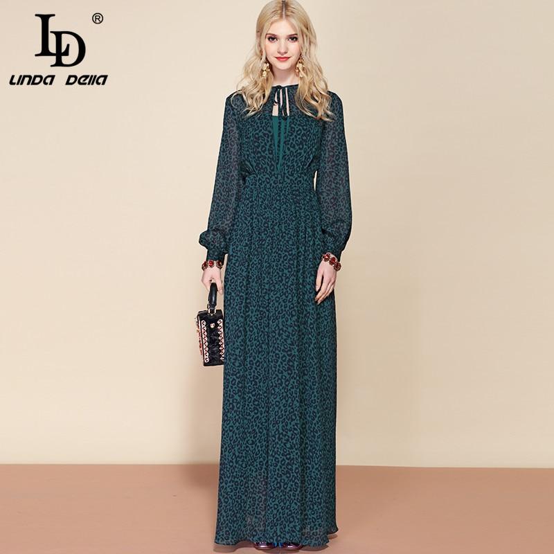 LD LINDA DELLA Spring Fashion Runway Long Sleeve Maxi Dress Women s Sexy Deep V Neck