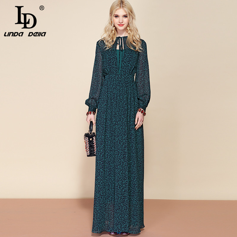LD LINDA DELLA Spring Fashion Runway Long Sleeve Maxi Dress Women's Sexy Deep V Neck Long Dress Elegant Formal Party Dresses