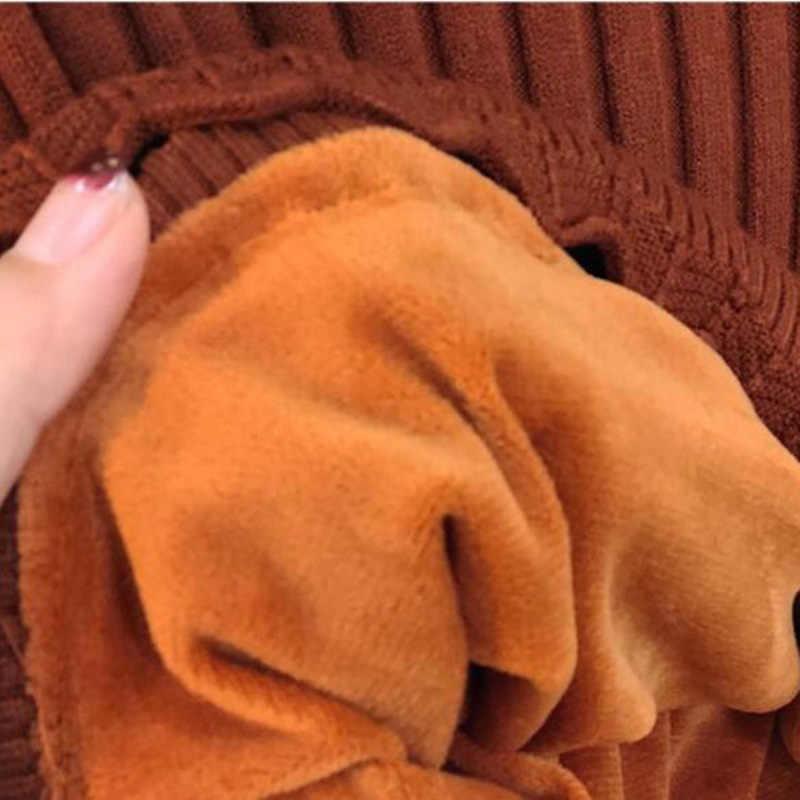 Новинка зимы Половина Водолазка женский короткий вязаный свитер пуловер плюс бархатный толстый нижний свитер Повседневный женский джемпер Топы Y62