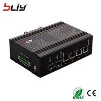 Managed industrial grade network switch 4 gigabit rj45 port 2 sfp fiber port ethernet industry smart network optical kvm switch