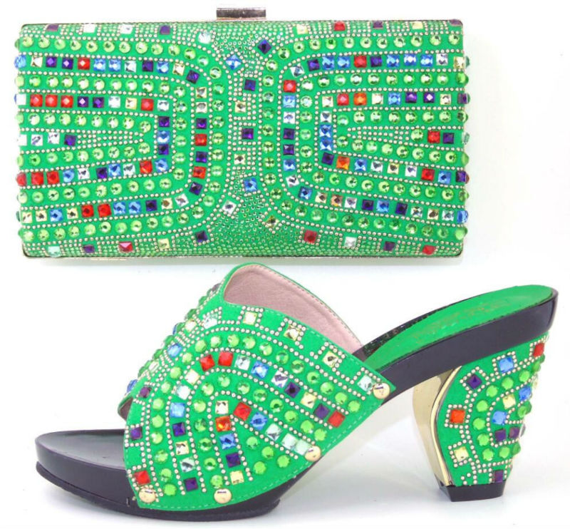 ФОТО Italian Shoes And Bags To Matching Pumps Shoes Wedding Party Heels green African Women Shoes And Bag Set With Rhinestones