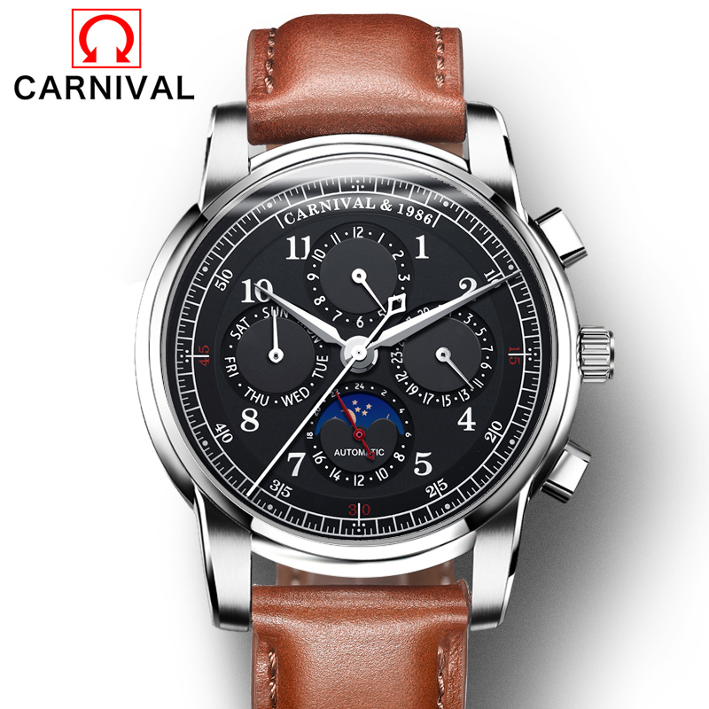 Carnival Watch Men Moon Phase Automatic Mechanical Luminous Stainless Steel Waterproof multifunction Leather Black Watches все цены