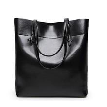 Women Handbag Genuine Leather Shoulder Bag Female Bags Cowhide portable shopping Vintage Large Capacity Tote Ms Bolsos black
