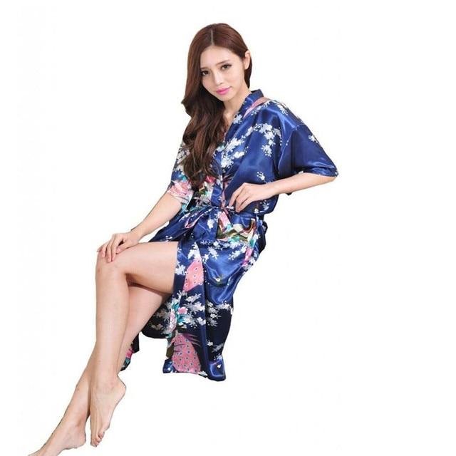 Новое Прибытие женщин Шелковый Халат Китайский Ночная рубашка Пижамы Юката платье Цветок Размер Sml XL XXL XXXL Z001