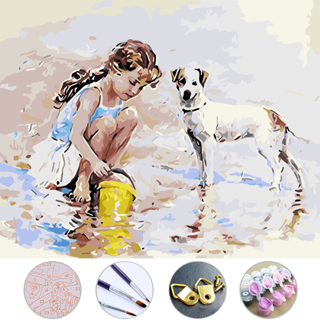 Diy Oil Painting Girls And Puppies Drawing Frameless Picture On Wall