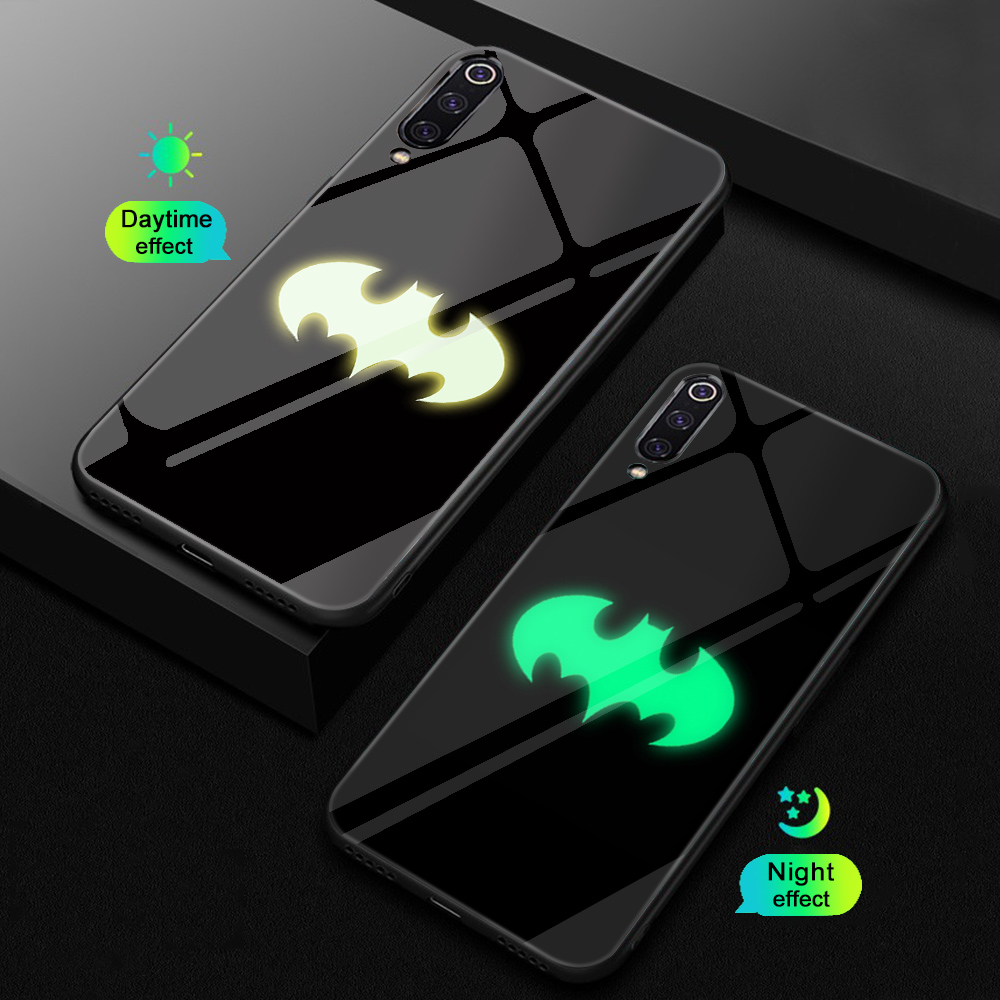 ciciber Phone Case for Redmi Note 7 6 5 Pro Plus Luminous Glass Cover Xiaomi 9 A2 8 6X MIX 2 2S PocoPhone F1 Marvel Batman
