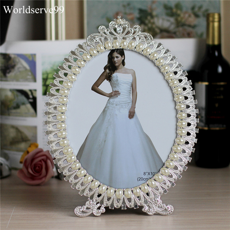 7inch Crystal Pearl Oval Wedding Photo Frame Metal Alloy