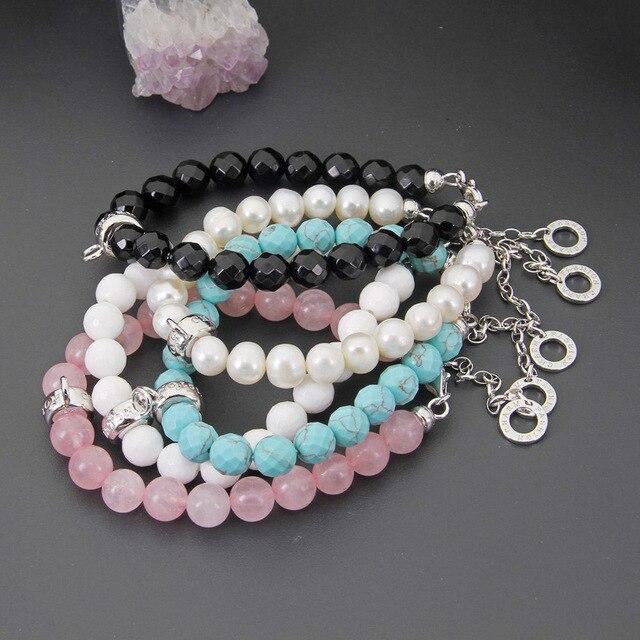 Фото женский браслет с жемчужинами thomas розовый кварцевый кристалл цена