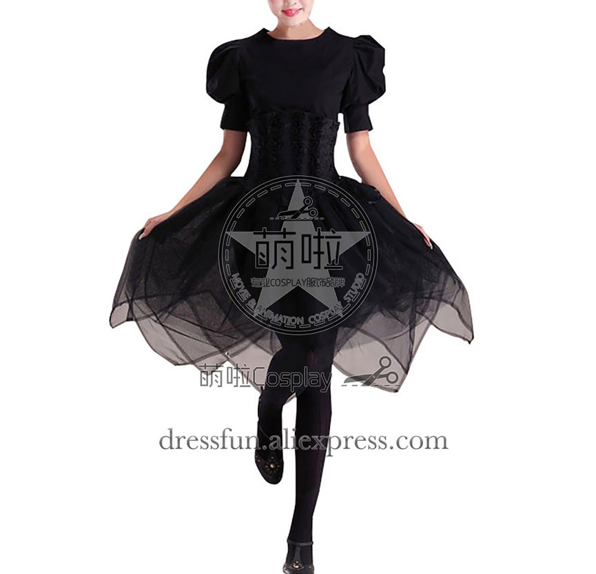 Victorian Lolita Steampunk Fairy Corset Gothic Lolita Dress Short Sleeve Black Dress Fashion clothing High Qulity Fast Shipping