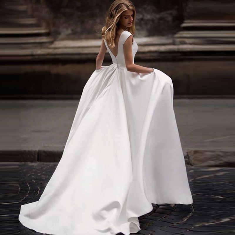 סתיו חדש vestidos novias ודהה חתונה שמלות סאטן חתונת כלה שמלות vestido דה noiva sheer סקסי V-בחזרה hochzeitskleid