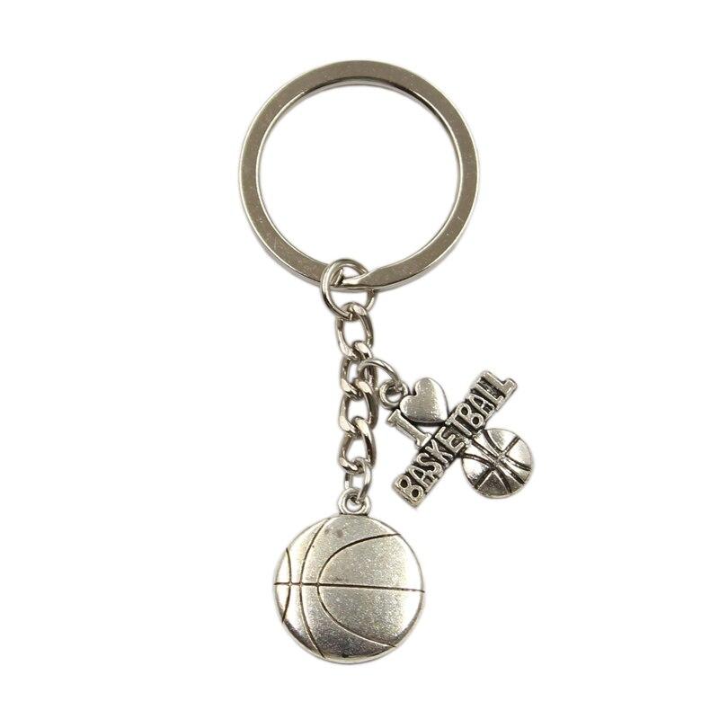 New Silver Color Metal Men Key Ring Vintage I Love Basketball Basketball Hoop Pendants DIY Car Keychain Jewelry Gifts
