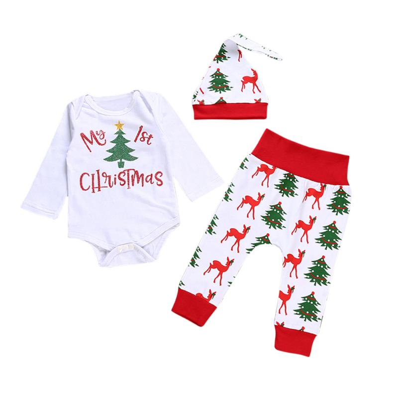 Tops Pants Bodysuit Outfits 3pcs Christmas Newborn Baby Boy Girl Letter Romper Tops+Deer Long Pants+Hat Baby Girls Clothing 0 24m newborn infant baby boy girl clothes set romper bodysuit tops rainbow long pants hat 3pcs toddler winter fall outfits
