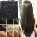 """100% Толстая Целую голову Клип В Наращивание Волос 24 """"длинные Вьющиеся Волнистые Волосы Pad Ombre Браун Черный Белый Быстрая Бесплатная Доставка Ли Богатые"""