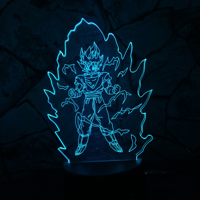 Dragon Ball Z Super Saiyan God Goku Action Figures 3D Table Lamp