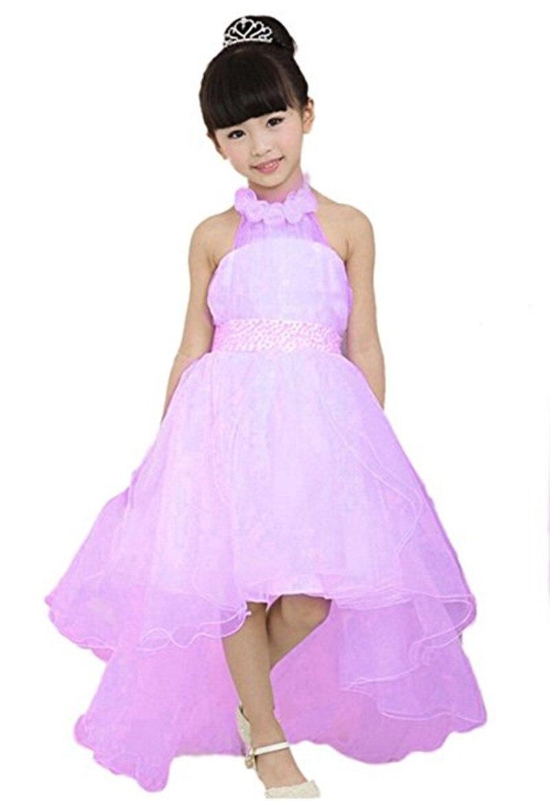 Gardlilac organza Halter asimétrico niña cola larga vestidos de ...