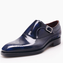 Luxury shops custom mens goodyear welted shoes dark blue patent leather shoes for men italian hand mens single monk strap shoes