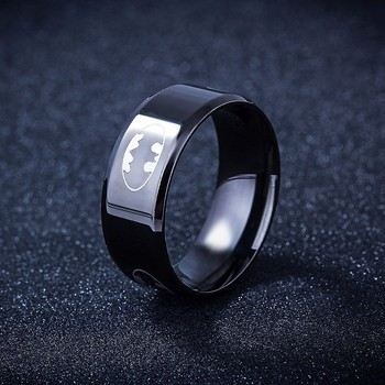 R&X New Arrival Stainless Steel Batman Rings Titanium Steel Rings For Women and Men Unique Cool Ring image