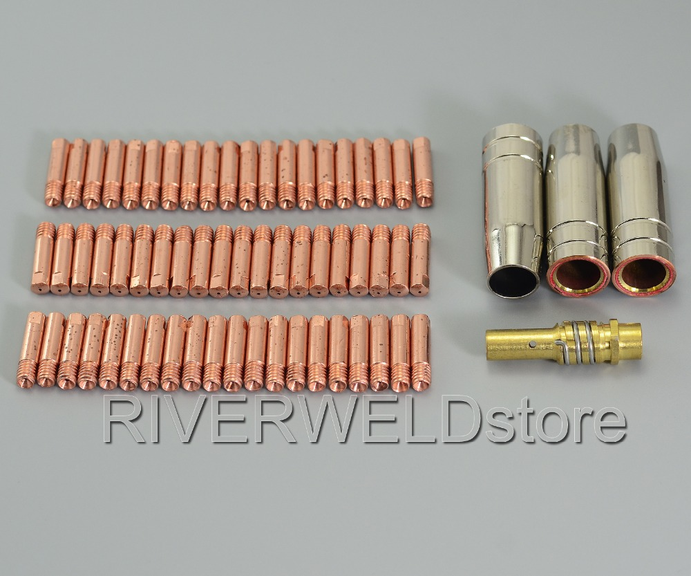 64PCS New MB 15 AK MIG/MAG Welding Contact Tips 0.6mm 140.0008 Tip Holder 002.0078 Gas Nozzle 145.0075 For Welding Machine