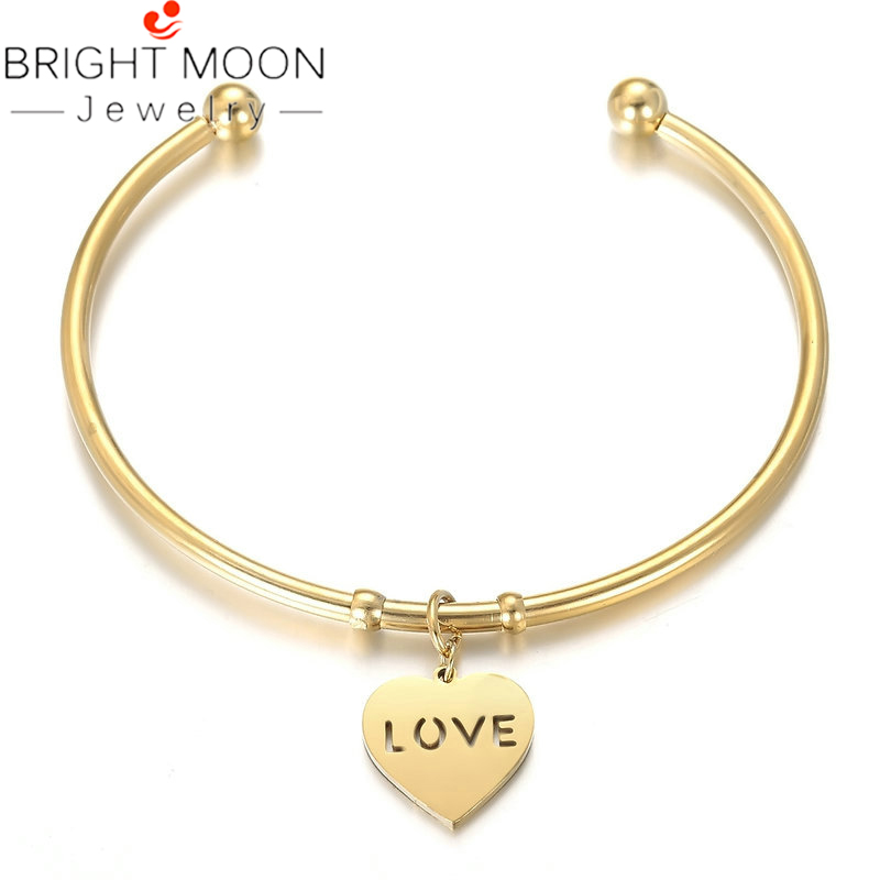 Bright Moon New Arrival Gold Color Bangles Lovely Heart Elephant Pendant Charm Bracelets Stainless Steel Bangle Jewelry for Gift in Cuff Bracelets from Jewelry Accessories