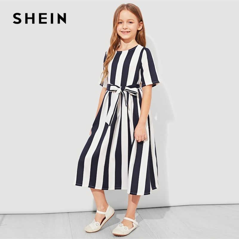 e67468720a ... SHEIN Girls Tie Waist Button Striped Casual Dress Kids Clothing 2019  Spring Korean Short Sleeve Elegant ...