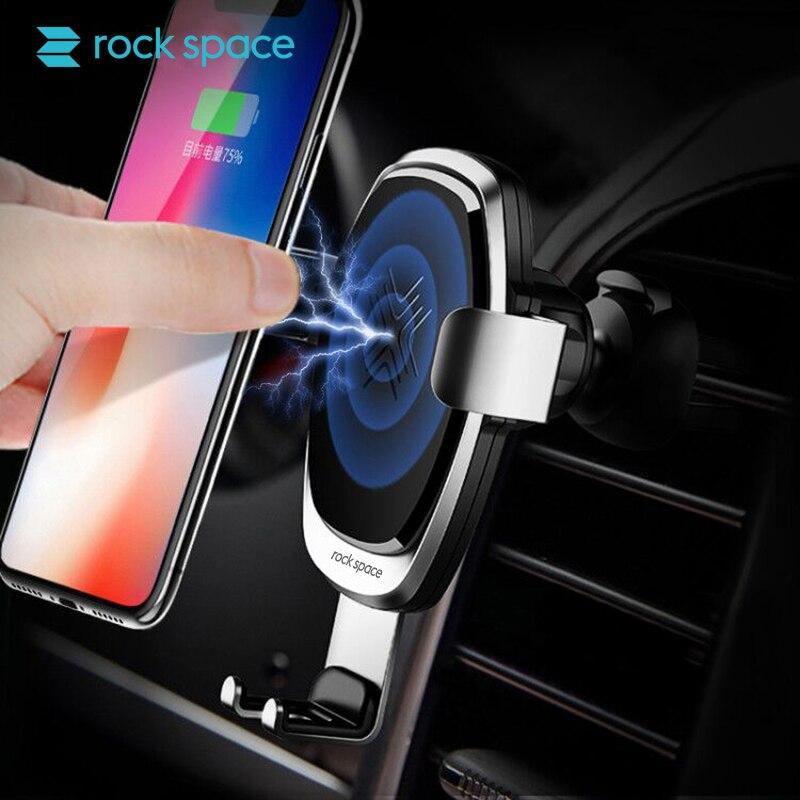 ROCK SPAZIO Senza Fili 9 v 10 w Veloce Qi Wireless Caricabatteria Da Auto Per Il Telefono Del Moblie Car Holder 360 Gradi di Gravità per il iphone, samsung Telefono