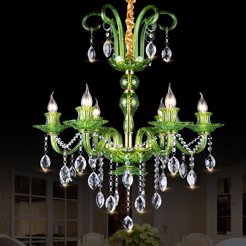 Green Crystal Chandelier Living Room lustres de cristal ...