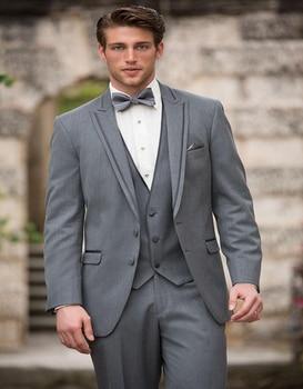 2017 Hot Sale Two Buttons Business Groom Tuxedos Grey Peak Lapel Groomsmen Suits Wedding Prom Suits For Men(jacket+pants+vest)