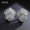 ZAKOL Luxury Silver Plated Top Quality Small Pure Cubic Zirconia Rhinestone Flower Clip Earrings For Bridesmaid Jewelry FSEP188