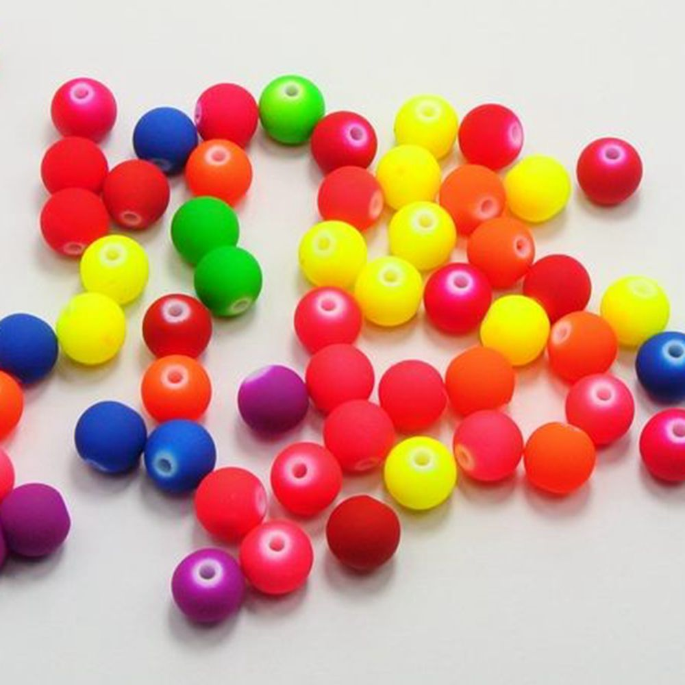 200 Mixed Fluorescent Neon Acrylic Flower Beads Charms 8mm Rubber Tone