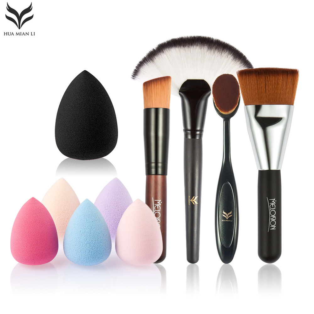 HUAMIANLI 5pcs Makeup brush set High Quality Soft Synthetic Hair and Nature BristlesProfessional Makeup Artist Brush Tool+Puff