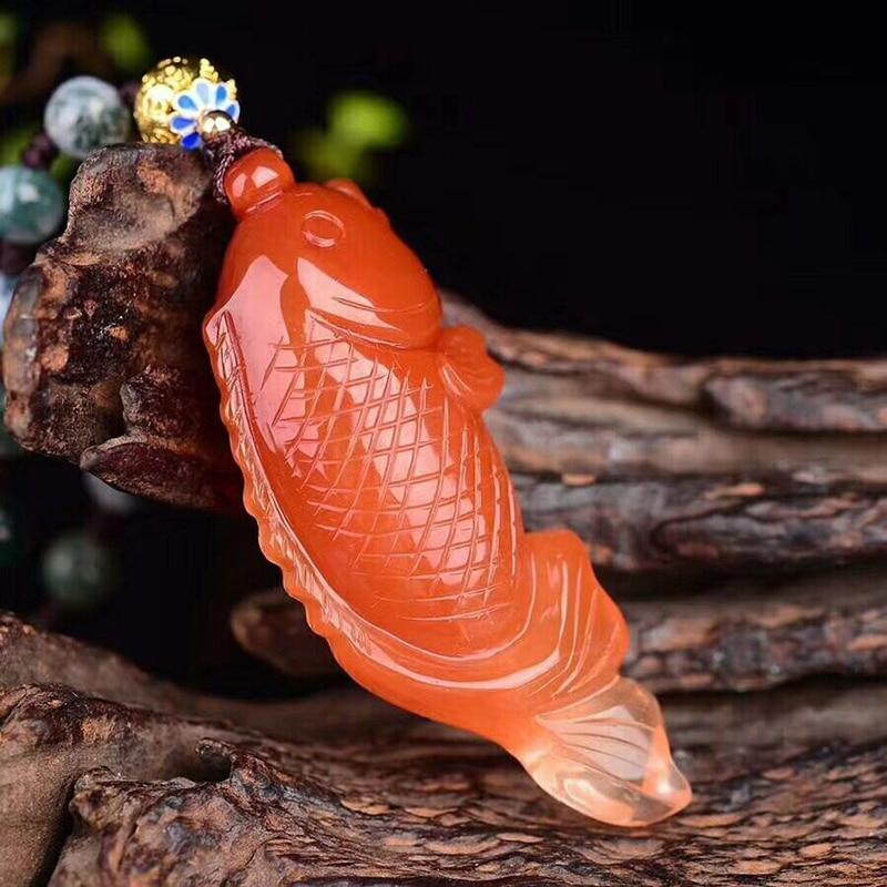 Haut de gamme Fine JoursNeige rouge naturel cristal pendentifs Fine Caved bénédiction poisson pendentif collier riche pour les femmes cadeau bijoux - 3