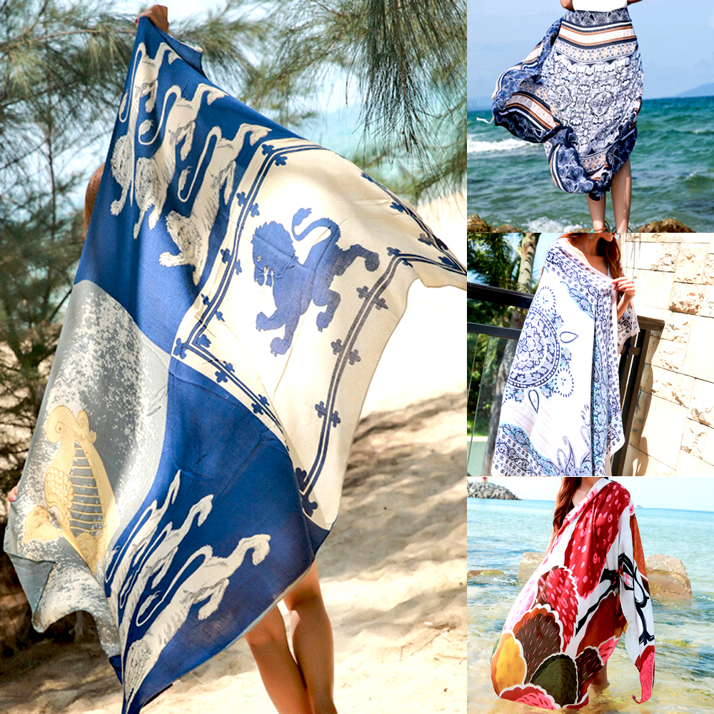 Women/'s Chiffon Soft Neck Scarf Beach Sunscreen Shawl Scarves Long Stole Wrap TP