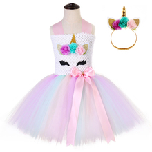 Candy Pony Unicorn Pattern Flower Girl Christmas Dress Princess Costume for Girls Halloween Toddler Kids Hot