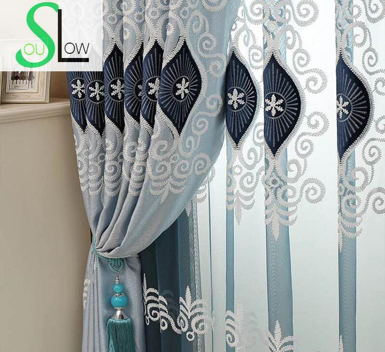 Slow Soul Blue Pink Purple Eyes High Grade Embroidery Living Room Bedroom Curtain Europe Curtains Tulle Cortinas For Kitchen serok ikan