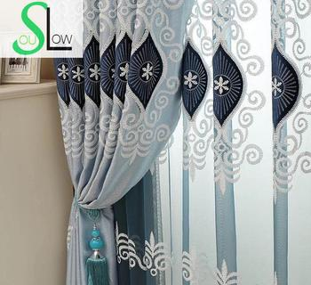 Slow Soul Blue Pink Purple Eyes High Grade Embroidery Living Room Bedroom Curtain Europe Curtains Tulle Cortinas For Kitchen Туалет