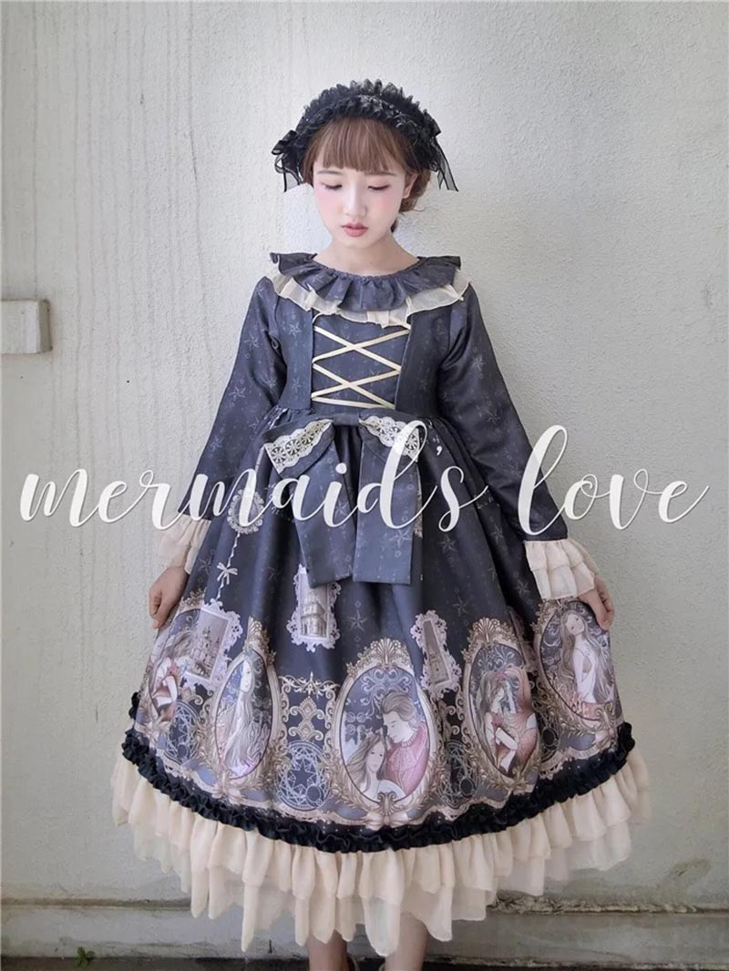 Ladies Vintage Lolita Paradise Heaven Op Cape Collar Anime Bow Embellished Lace Dress Lotus Ruched Front Lacing Dress For Women