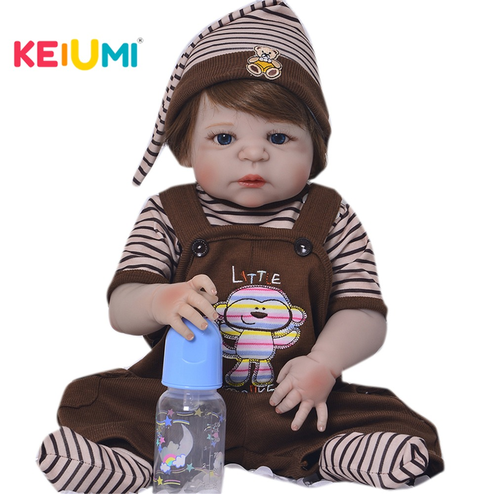 23'' Full Silicone Vinyl Reborn Dolls Babies With Magnetic Pacifier Realistic Reborn Dolls Gold Hair Boy Bebe Kids Birthday Toy