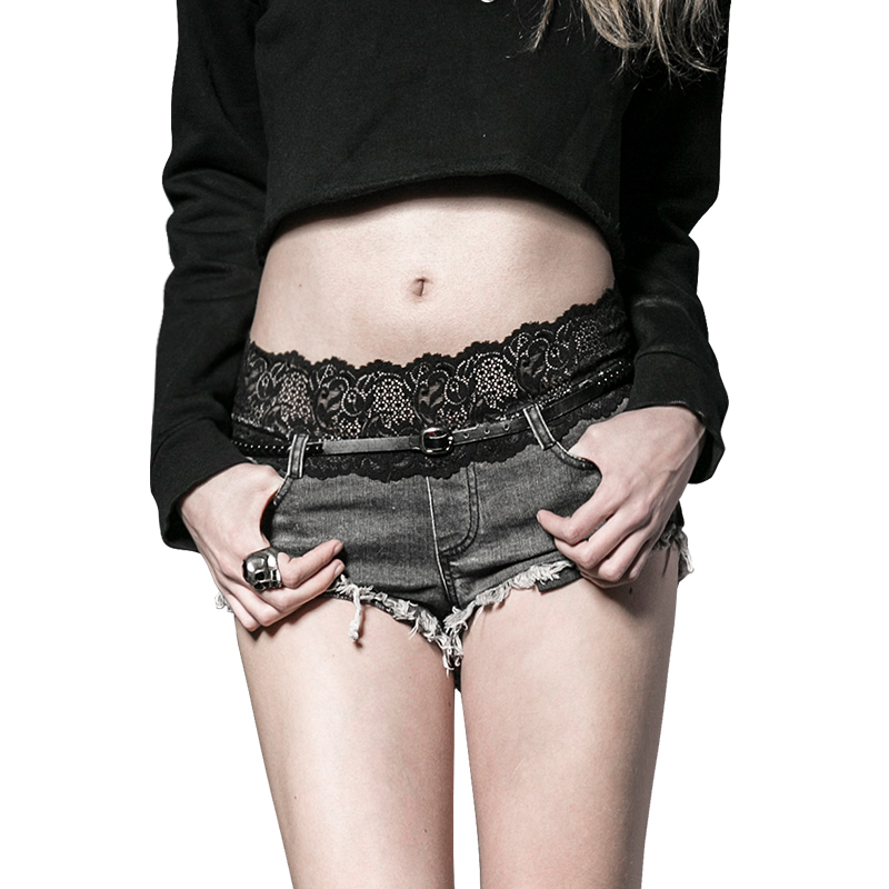 Steampunk Summer <font><b>Sexy</b></font> Low Waist Denim <font><b>Shorts</b></font> For Women Fashion Punk <font><b>Black</b></font> Hot <font><b>Shorts</b></font> Lace Spliced Jeans <font><b>Short</b></font> With Pu Sashes image