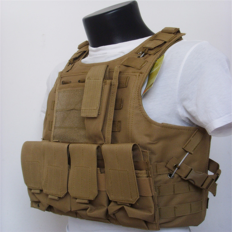 Amphibians combat Molle design military Tactical Hunting vest sand color WIRE STEEL IN 800D material