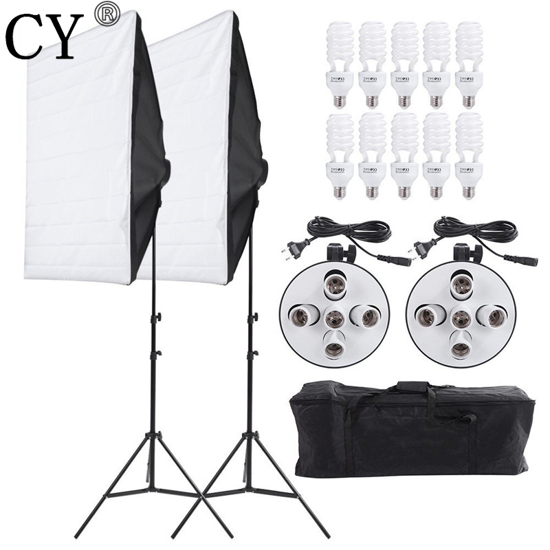 CY Photography Studio Soft Box Continuous Lighting Kits 5 Lamp Head Holder*2+Softbox*2+Stand*2+45W Bulbs*10 Photo Studio Set