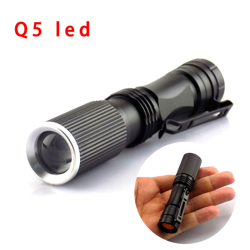 LED Flashlight AAA Q5 Zoomable Torch Pocket Light Powerful Tactical Flash Lamp