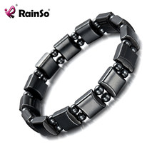 Rainso 2019 Trendy Women Charm Bracelet Black Hematite Natural Stone Healing Power Magnetic Bracelet Femme Jewelry Dropshipping(China)
