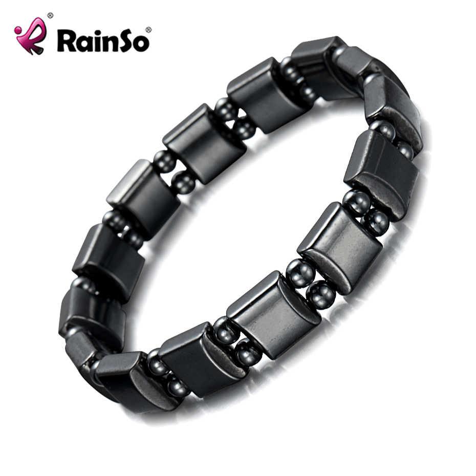 Rainso 2019 טרנדי נשים קסם צמיד שחור המטיט טבעי אבן ריפוי כוח מגנטי צמיד Femme תכשיטי Dropshipping