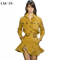 LXMSTH 2019 Fashion Runway Cargo Skirt Set Women Two Piece Sets Ladies Shirt Top And Ruffles Skirt Mini Belt Casual Female Suits