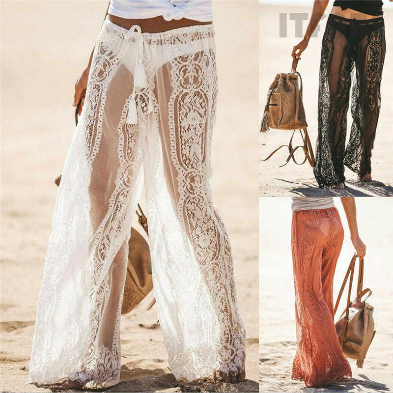 Beach Style Women Lace Bell Bottoms Flare Trousers Mid Waist Wide Leg Long Pants Lace Hollow Out See Through Lace-up Pants New