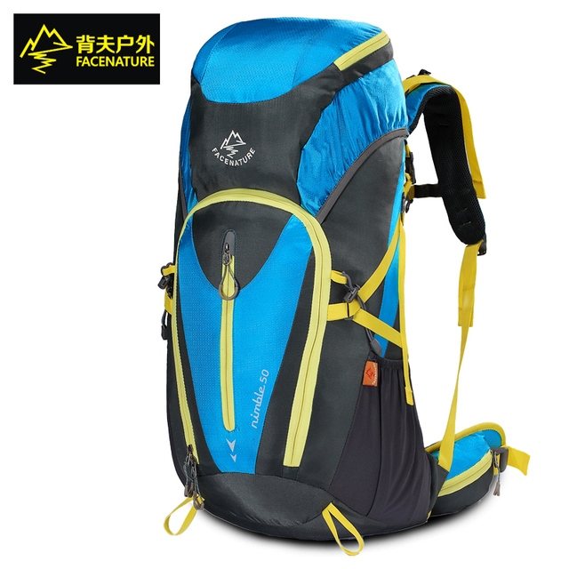 Facenature mountain backpack women&men outdoor sport travel backpack 4color 50l top quality waterproof climbing hiking backpack