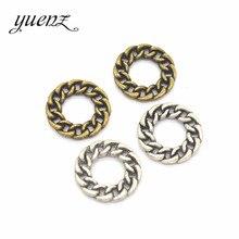 YuenZ 10 adet 2 renk antik gümüş renk zincir yüzük charms fit bilezik için kolye DIY Metal takı yapımı için 20*20mm B107
