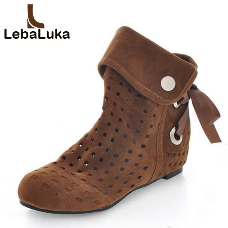LebaLuka Women Shoes Women Ankle Boots Flat Height Increase Summer Boots Fretwork Hollow Out Fashion Novel Shoes Size 34-43LebaLuka Women Shoes Women Ankle Boots Flat Height Increase Summer Boots Fretwork Hollow Out Fashion Novel Shoes Size 34-43